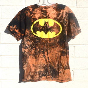 Batman Tie Dye Distressed T Shirt Youth XL Black